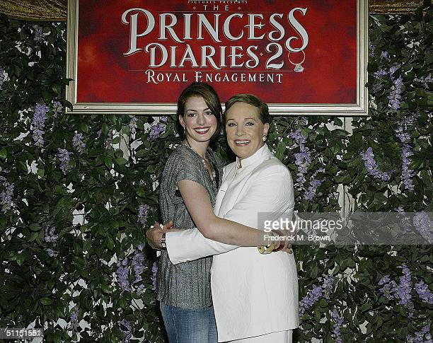 Actors Anne Hathaway and Julie Andrews attend the film premiere of 'The Princess Diaries 2 Royal Engagement' at Disneyland on August 7 2004 in...