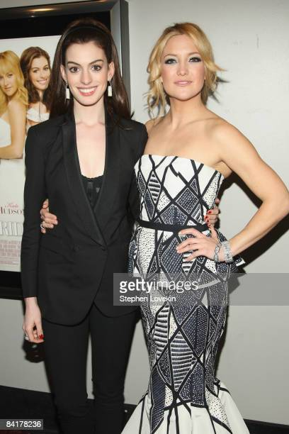 Actors Anne Hathaway and Kate Hudson attend the Bride Wars Premiere at AMC Loews Lincoln Square on January 5 2009 in New York City