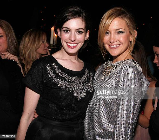 """Actors Anne Hathaway and Kate Hudson attend the Dolce & Gabbana's """"The One"""" Fragrance Launch and Private Dinner at The Grammercy Park Hotel on..."""