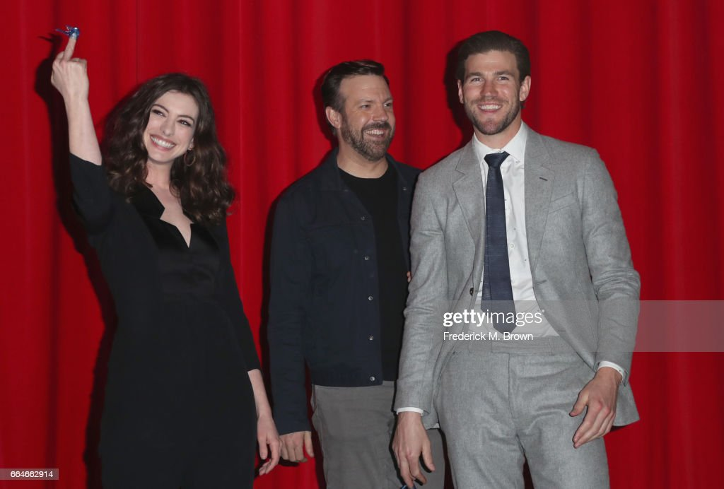 Actors Anne Hathaway, Jason Sudeikis and Austin Stowell attend the Premiere Of Neon's 'Colossal' at the Vista Theatre on April 4, 2017 in Los Angeles, California.