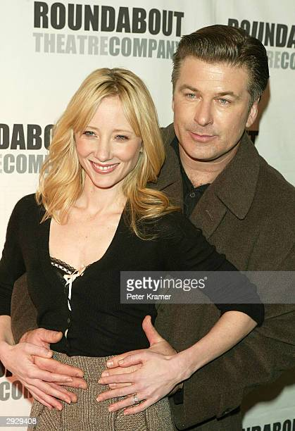 Actors Anne Heche and Alec Baldwin at a photo call for Roundabout Theatre's new play 'Twentieth Century' February 4 2004 in New York City