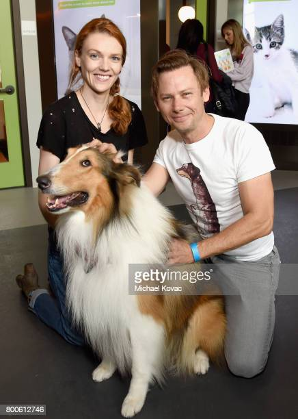 Actors Anne Lane and Jimmi Simpson with Lassie the dog at the grand opening of The Wallis Annenberg PetSpace on June 24 2017 in Playa Vista California