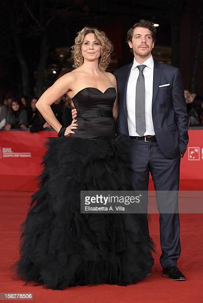 Actors Anne Louise Hassing and Ramsey Nasr attend the 'Goltzius And The Pelican Company' Premiere during the 7th Rome Film Festival at Auditorium...