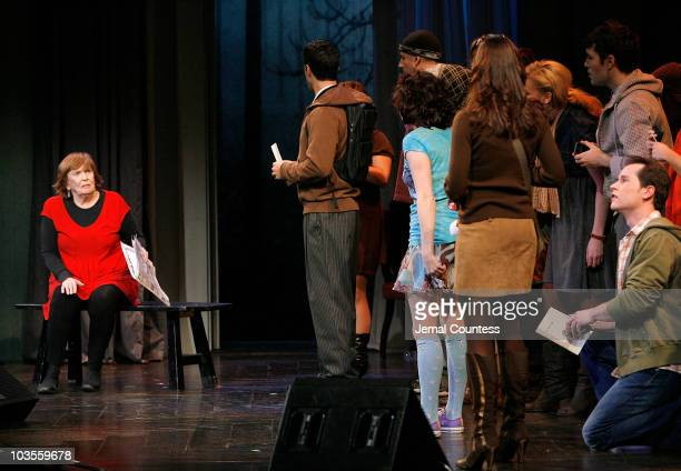Actors Anne Meara Kirsten Wyatt and ensemble perform I Met a Girl during the 2009 Broadway Backwards at the American Airlines Theatre on February 9...