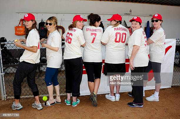 Actors Anne Ramsay Bitty Schram Patti Pelton Tracy Reiner Penny Marshal Megan Cavanagh and Ann Cusack attends A League Of Their Own Reunion Softball...