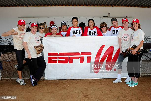 Actors Anne Ramsay Megan Cavanagh Bitty Schram Ann Cusack and Patti Pelton attend 'A League Of Their Own' Reunion Softball Game hosted by espnW...