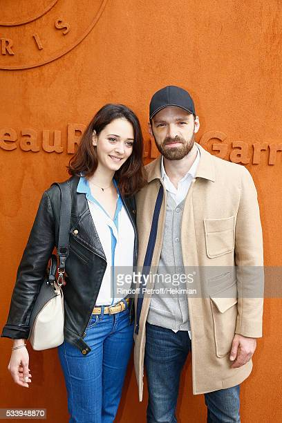 Actors Anne Serra and Alban Lenoir attend the 2016 French Tennis Open Day Three at Roland Garros on May 24 2016 in Paris France