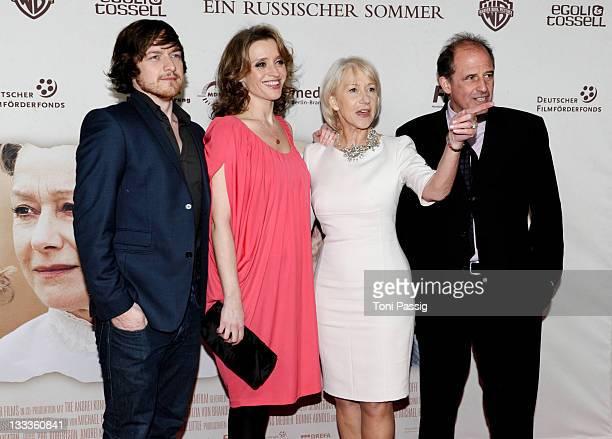 Actors AnneMarie Duff James McAvoy Helen Mirren and director Michael Hoffman attend the Ein Russischer Sommer Germany Premiere on January 27 2010 in...