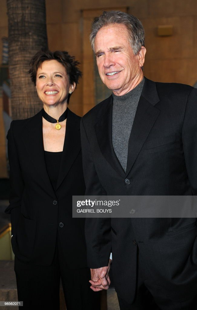 Actors Annette Bening and husband Warren Beatty arrive at the premiere 'Mother and Child' in Hollywood, California, on April 19, 2010.