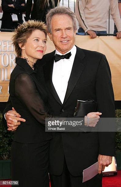 Actors Annette Bening and husband Warren Beatty arrives at the 11th Annual Screen Actors Guild Awards at the Shrine Exposition Center on February 5,...