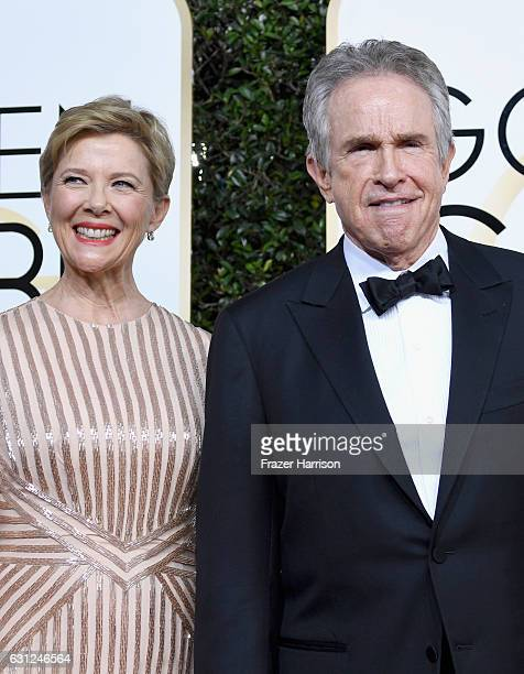 Actors Annette Bening and Warren Beatty attend the 74th Annual Golden Globe Awards at The Beverly Hilton Hotel on January 8 2017 in Beverly Hills...