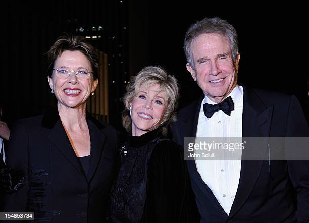 Actors Annette Bening Jane Fonda and Warren Beatty attend LACMA 2012 Art Film Gala Honoring Ed Ruscha and Stanley Kubrick presented by Gucci at LACMA...