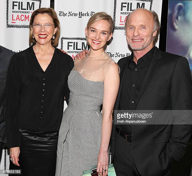 Actors Annette Bening Jess Weixler and Ed Harris attend the screening of IFC Films' 'The Face Of Love' at LACMA on March 3 2014 in Los Angeles...