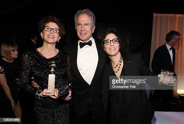 Actors Annette Bening Warren Beatty and director Lisa Cholodenko attend the NBCUniversal/Focus Features Golden Globes Viewing and After Party...