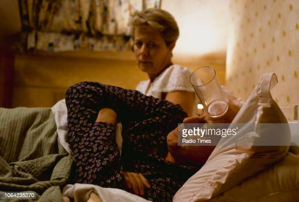 Actors Annette Crosbie and Richard Wilson in a bedroom scene from episode 'Love and Death' of the BBC Television sitcom 'One Foot in the Grave'...