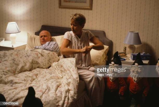 Actors Annette Crosbie and Richard Wilson in a scene from Christmas episode 'Who's Listening' of the BBC Television sitcom 'One Foot in the Grave'...