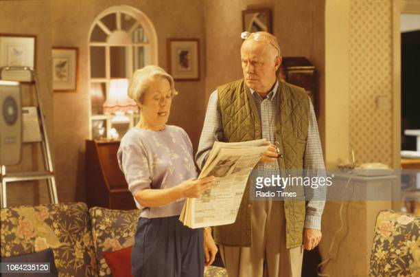 Actors Annette Crosbie and Richard Wilson in a scene from episode 'Only a Story' of the BBC Television sitcom 'One Foot in the Grave' October 16th...