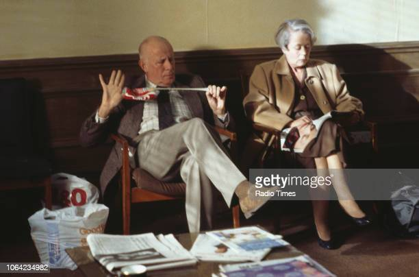 Actors Annette Crosbie and Richard Wilson in a scene from episode 'Rearranging the Dust' of the BBC Television sitcom 'One Foot in the Grave' October...