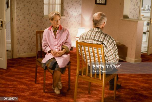Actors Annette Crosbie and Richard Wilson in a scene from episode 'Monday Morning Will Be Fine' of the BBC Television sitcom 'One Foot in the Grave'...