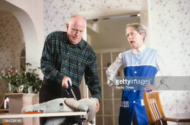Actors Annette Crosbie and Richard Wilson in a scene from episode 'The Broken Reflection' of the BBC Television sitcom 'One Foot in the Grave'...