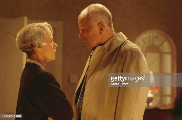 Actors Annette Crosbie and Richard Wilson in a scene from episode 'The Affair of the Hollow Lady' of the BBC Television sitcom 'One Foot in the...