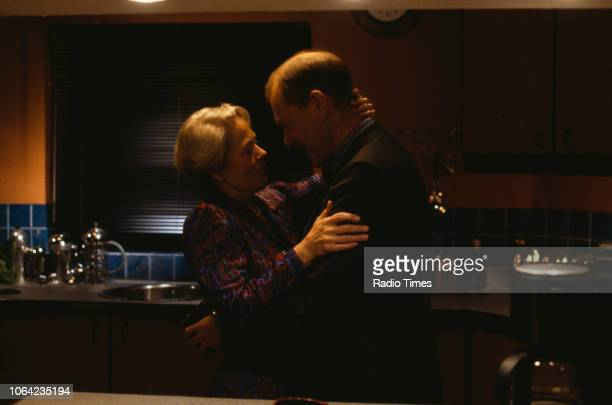 Actors Annette Crosbie and Tristram Jellinek in a scene from episode 'Warm Champagne' of the BBC Television sitcom 'One Foot in the Grave' January...