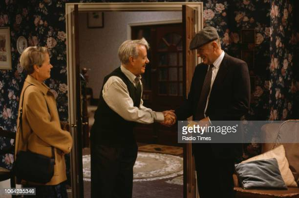 Actors Annette Crosbie John Rutland and Richard Wilson in a scene from episode 'The Worst Horror of All' of the BBC Television sitcom 'One Foot in...
