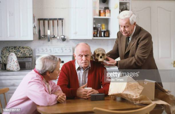 Actors Annette Crosbie Richard Wilson and Richard Person in a scene from episode 'The Broken Reflection' of the BBC Television sitcom 'One Foot in...