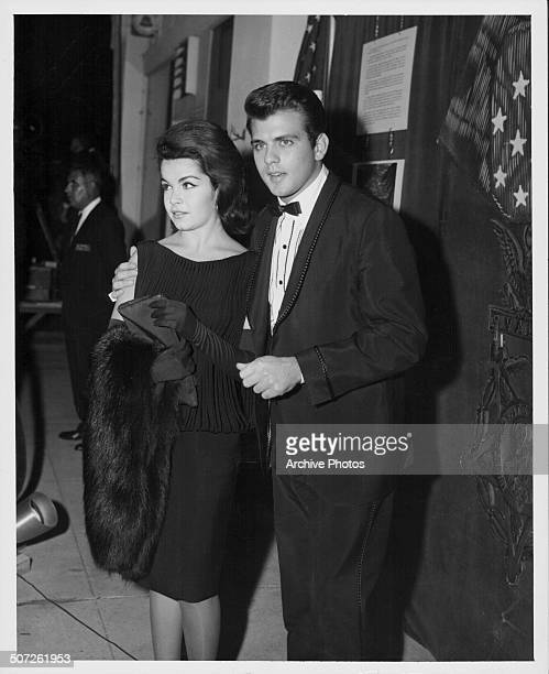 Actors Annette Funicello and Fabian Forte attending the premiere of the movie 'The Longest Day' 1962