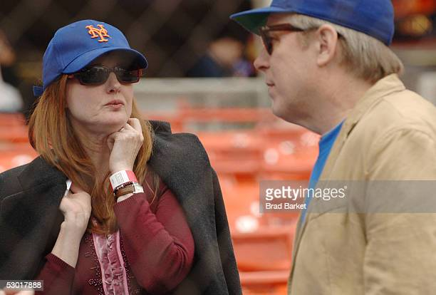 Actors Annette O'Toole and Michael McKean attend batting practice for Project A.L.S. At Shea Stadium on June 3, 2005 in the Flushing neighborhood of...