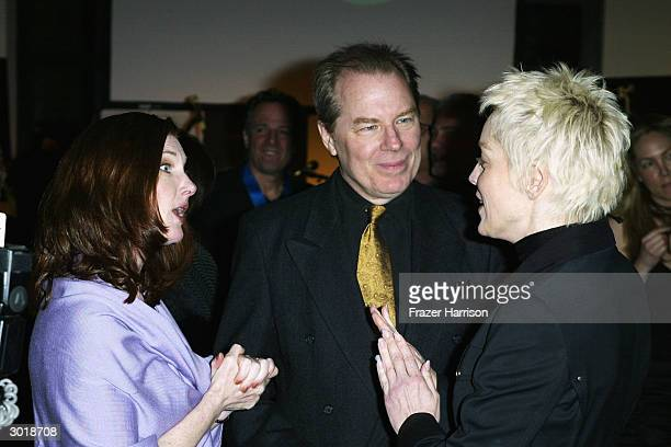 Actors Annette O'Toole, Michael McKean and Sharon Stone talk during The Global Vision for Peace launch of Artists for the United Nations on February...