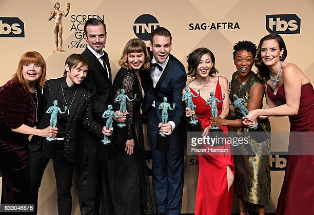 Actors Annie Golden Abigail Savage James McMenamin Emily Althaus Alan Aisenberg Kimiko Glenn Samira Wiley and Julie Lake cowinners of the Outstanding...