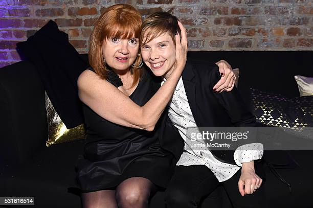 Actors Annie Golden and Abigail Savage attend the Entertainment Weekly People Upfronts party 2016 at Cedar Lake on May 16 2016 in New York City