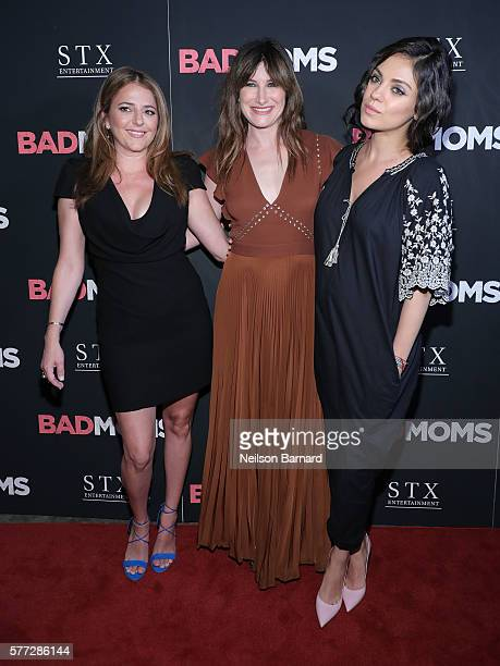 Actors Annie Mumolo Kathryn Hahn and Mila Kunis attend the Bad Moms premiere at Metrograph on July 18 2016 in New York City