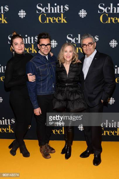 Actors Annie Murphy Dan Levy Catherine O'Hara and Eugene Levy attend the 'Schitt's Creek' Season 4 premiere at TIFF Bell Lightbox on January 9 2018...