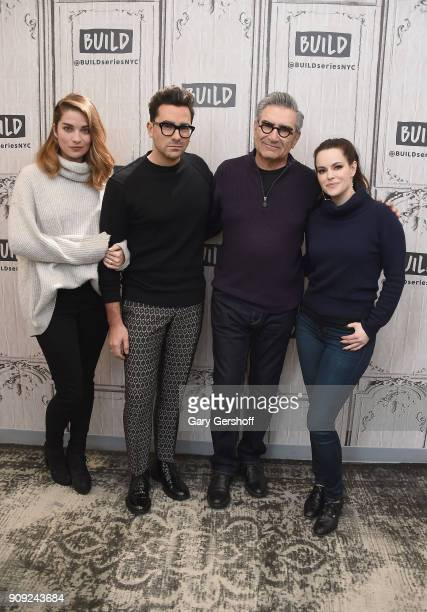 Actors Annie Murphy Daniel Levy Eugene Levy and Emily Hampshire visit Build Series to discuss the sitcom 'Schitt's Creek' at Build Studio on January...