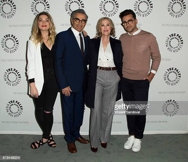 Actors Annie Murphy Eugene Levy Catherine O'Hara and Daniel Levy attend Paley Center For Media Presents PaleyLive LA An evening with Schitt's Creek...