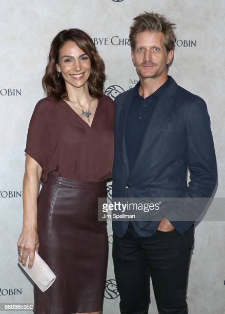 Actors Annie Parisse and Paul Sparks attend the 'Good Bye Christopher Robin' New York special screening at The New York Public Library on October 11...
