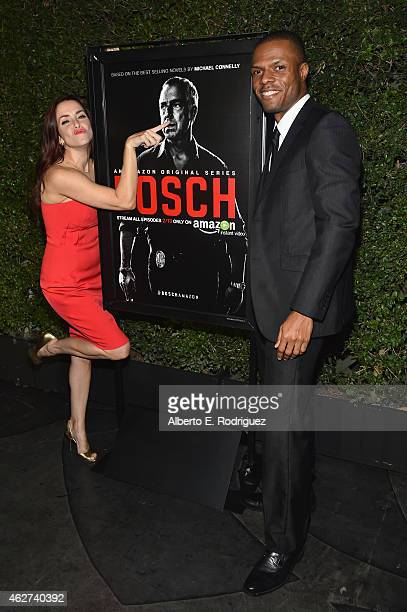 Actors Annie Wersching and Deji LaRay attend the after party for the premiere screening for Amazon's first original drama series 'Bosch' on February...