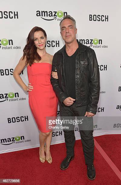 Actors Annie Wersching and Titus Welliver arrive for the red carpet premiere screening for Amazon's first original drama series 'Bosch' at ArcLight...