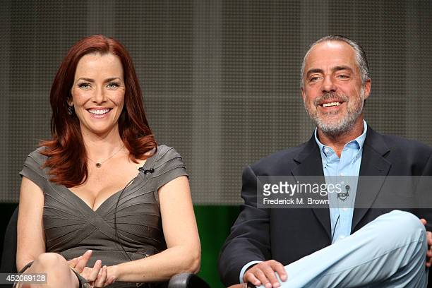 Actors Annie Wersching and Titus Welliver speak onstage at the 'Bosch' panel during the Amazon Prime Instant Video portion of the 2014 Summer...