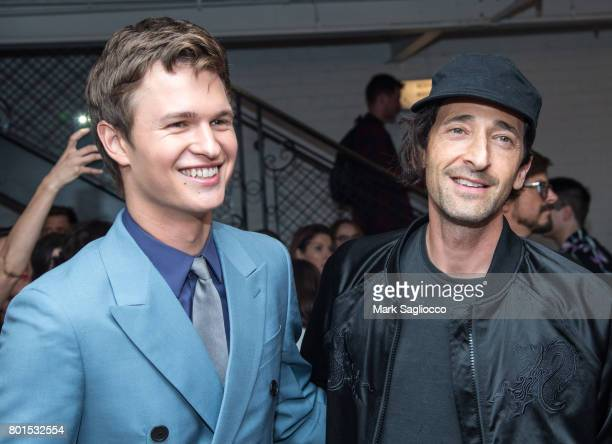 Actors Ansel Elgort and Adrien Brody attend TriStar Pictures The Cinema Society and Avion's screening of Baby Driver at The Metrograph on June 26...