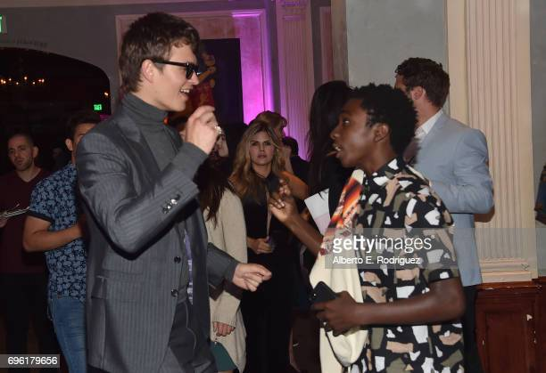 Actors Ansel Elgort and Caleb McLaughlin attend the after party for the premiere of Sony Pictures' 'Baby Driver' on June 14 2017 in Los Angeles...