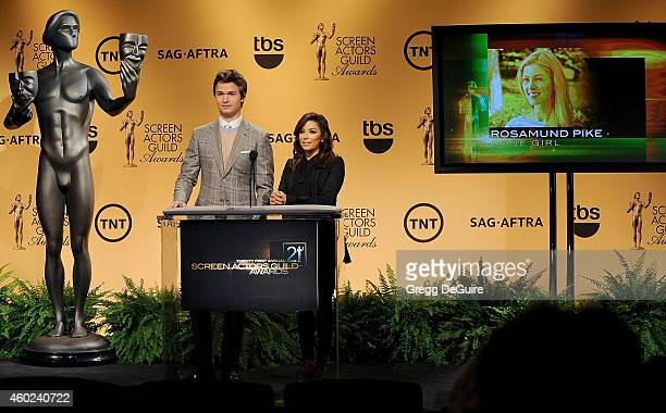 Actors Ansel Elgort and Eva Longoria speak onstage during TNT's 21st Annual Screen Actors Guild Awards Nominees Announcement And Holiday Auction...