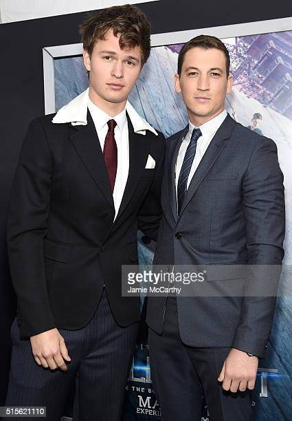 Actors Ansel Elgort and Miles Teller attend the New York premiere of 'Allegiant' at the AMC Lincoln Square Theater on March 14 2016 in New York City