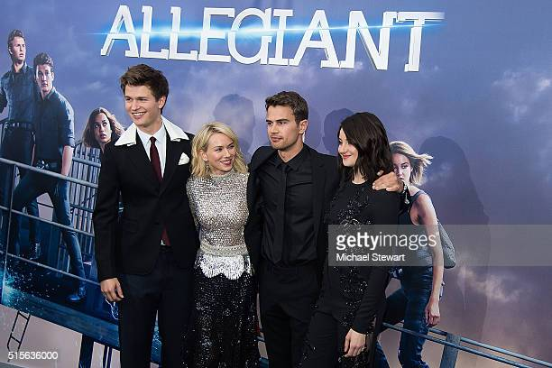 Actors Ansel Elgort Naomi Watts Theo James and Shailene Woodley attend the 'Allegiant' New York premiere at AMC Lincoln Square Theater on March 14...