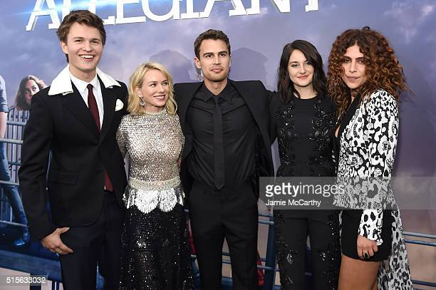 Actors Ansel Elgort Naomi Watts Theo James Shailene Woodley and Nadia Hilker attend the New York premiere of Allegiant at the AMC Lincoln Square...