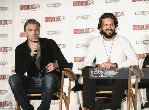 Actors Anson Mount and Shazad Latif speak at the Space Presents Star Trek Discovery session during Fan Expo Canada 2018 at Metro Toronto Convention...