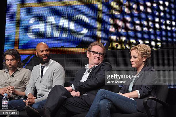 Actors Anson Mount Common Colm Meaney and Dominique McElligott speak during AMC's Hell on Wheels TCA Panel during the 2011 Summer TCA Tour at the...