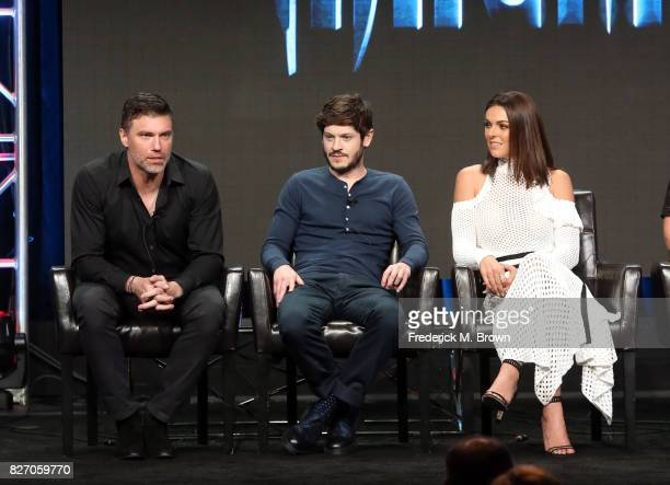 "Actors Anson Mount, Iwan Rheon and Serinda Swan of ""Inhumans"" speak onstage during the Disney/ABC Television Group portion of the 2017 Summer..."